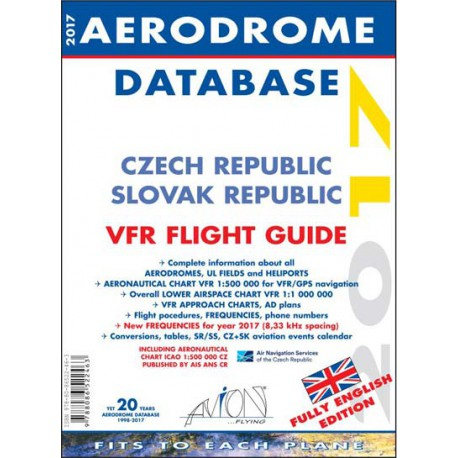 Aerodrome Database 2017 CZ+SK Fully English Edition + Aeronautical charts