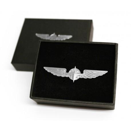 PILOT WINGS 5 cm (pilotný odznak) strieborný